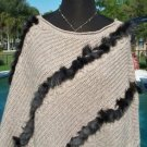 Cache $148 KNIT PONCHO SWEATER NWT XS/S/M/L STRETCH MINK Faux FUR TRIM ONE SIZE