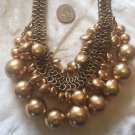 Chicos Statement Necklace SIGNED EUC GOLD METAL BALLS DISC CHAINS MULTI BIBB