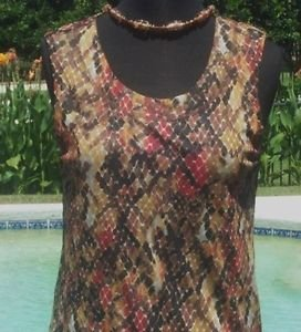 CHICO'S $59 Chicos 1 REPTILE MESH TANK Top NWoT S/M STRETCH LINED