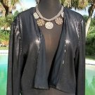 Cache $108 SEQUIN Top JACKET Shrug NWT L  METALLIC KISSED LINED