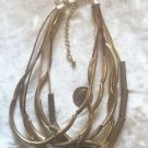 Chicos Statement Necklace SIGNED EUC GOLD METAL MULTI TEXTURED pLEATHER CHAINS