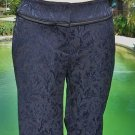 Cache $138 TEXTURED NAVY BROCADE BLACK SATIN TRIM Pant NWT 0/2/12/14 XS/L/XL