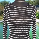 Cache $138 PEEK-A-BOO CROCHET KNIT Top EUC S BEAD EMBELLISHED STRETCH