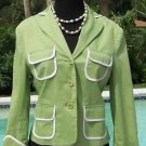 BCBG MAX AZRIA $222 STRETCH Cotton JACKET Top NWT XS/S S  Lined GREEN WHITE TRIM