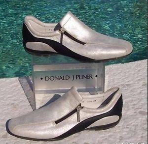 Donald Pliner $225 METALLIC SILVER LEATHER Shoe NIB ATHLETIC INSPIRED FLEX 6.5