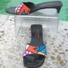 Donald Pliner $225 COUTURE LEATHER Sandal Shoe EUC ROMERO BRITTO ABSTRACT SLIDE
