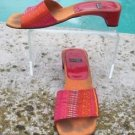Stuart Weitzman $275 SILK LEATHER Shoe Sandal EUC 7.5 Slide RED ORANGE YELLOW