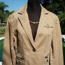 BOSTON PROPER BUTTONS ZIPPERS Jacket Top EUC 10/12 L  STRETCH DARK TAN