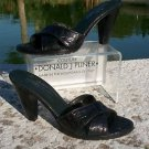 Donald Pliner $250 COUTURE GATOR PATENT LEATHER SANDAL Shoe EUC 9 CONE HEEL