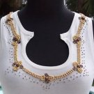 Cache $88 WOOD METALLIC BEAD EMBELLISHED NECK STRETCH Top NEW M/L/XL WINTER WHIT