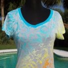 Cache $$$ SUNRISE DIP DYE BURN-OUT TEE Top NWT S/M SHEER ILLUSION YUMMY SOFT