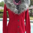Cache $168 REMOVABLE Faux FOX COLLAR KNIT CARDIGAN Top NWT XS/S/M STRETCH