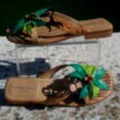 Michael Simon $175 Shoe Slide Sandal EUC 7.5 LEATHER WITH MONKEY TIME PALM TREE