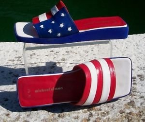 Michael Simon $150 Shoe Slide Sandal EUC 7.5 RED WHITE BLUE FLAG LEATHER PARADE