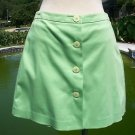 Cache $68 STRETCH SHORT SKORT WRAP SKIRT EUC 0/2/4 XS/S BUTTON FRONT GREEN APPLE