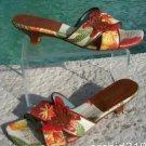 Michael Simon $150 Shoe Slide Sandal EUC 7.5 FIJI LEATHER BUTTERFLY & BEADS
