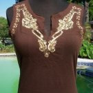 Cache $88 SEXY V NECK SEQUIN & BEAD EMBELLISHED TEE Top NWT XS/S STRETCH