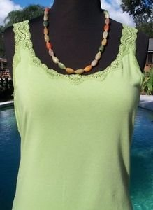 Ann Taylor $$$ LACE CAMI Top EUC M STRETCH SEXY APPLE GREEN