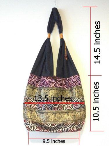 Limited Thai Handmade Elephant Shoulder Bag Vintage Hippie Hobo Sling Crossbody