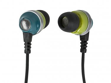 Enhanced Bass Noise Isolating Earphones w/ Built-in Microphone and Play/Pause Control - Green