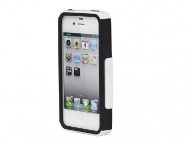Dual Guard PC+Silicone Case for iPhone 4/4s - White
