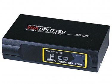 2-Way SVGA VGA Splitter Amplifier Multiplier 400 MHz - Black