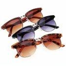 Vintage Style Unisex Eyewear Round Sunglasses Metal Frame Plastic Temple