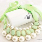 Women's Elegant Round Pearls Ribbon Bib Statement Necklace - 5666301