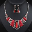 Geometric Polygon Resin Pendant Necklace Drop Earrings Set - 5647402