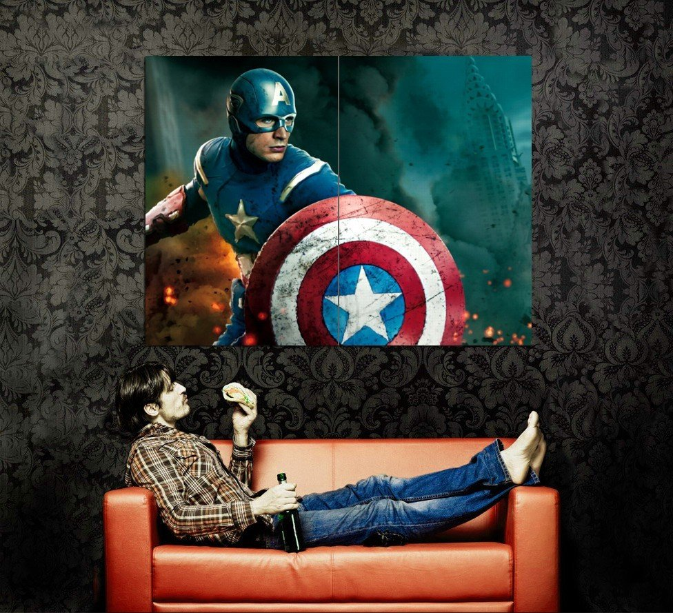 Avengers Captain America Chris Evans Movie Huge 47x35 Print POSTER