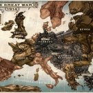 Caricature Map Of Europe Steampunk Art 16x12 Print Poster