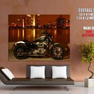 Harley Davidson Night Skyline Motorcycle Bike Huge Giant Print Poster