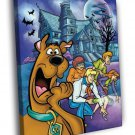 Scooby Doo Characters Funny Kids Cartoon 50x40 Framed Canvas Print