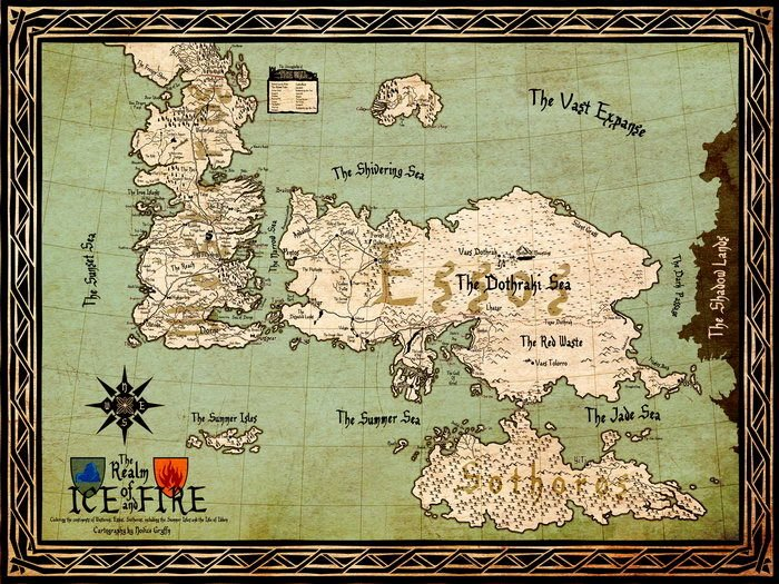 image about Free Printable Map of Westeros referred to as World wide Map Westeros Essos Video game Of Thrones 32x24 Print Poster