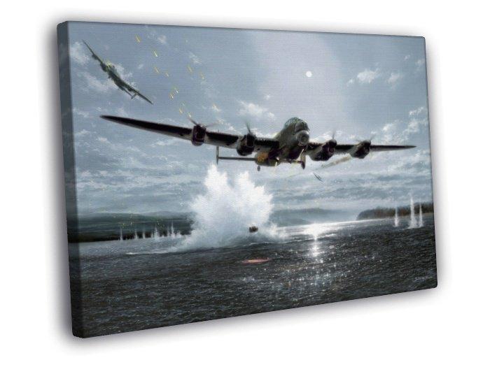 Lancaster Bomber Aircraft WW2 World War II 50x40 Framed Canvas Print