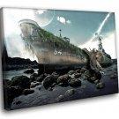 Fantasy Giant Octopus Ship 50x40 Framed Canvas Art Print