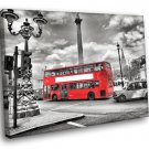 London England Red Bes Street Road Black And White 50x40 Framed Canvas Art Print
