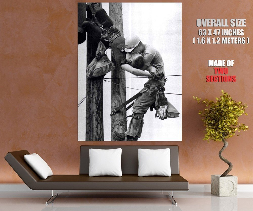 The Kiss Of Life Utility Workers High Voltage Old Retro GIANT Huge Print Poster