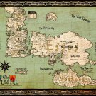 World Map Westeros Essos Game Of Thrones 16x12 Print Poster