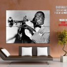 Louis Armstrong Trumpet Retro BW Jazz Music GIANT Huge Print Poster