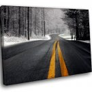 Winter Road Forest 50x40 Framed Canvas Art Print