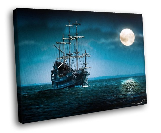 Old Ship Ocean Sailboat Full Moon Night Marine 50x40 Framed Canvas Art Print