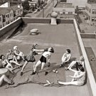 Women Boxing Roof 1930s Awesome Rare Old Retro BW 24x18 Wall Print POSTER