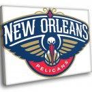 New Orleans Pelicans Logo Basketball Sport Art 40x30 Framed Canvas Print
