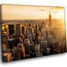 New York Cityskape Modern Skyscrapers Sunrise 50x40 Framed Canvas Art Print