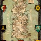 Seven Kingdoms Of Westeros Map Game Of Thrones 16x12 Print Poster
