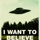 I Want To Believe UFO Fox Mulder X Files 32x24 Print Poster