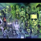 Classic Retro Horror Movies Characters Painting Art 16x12 Print POSTER