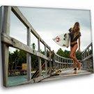 Alana Blanchard Surfer Model Surfboard Beach Sport 50x40 Framed Canvas Art Print