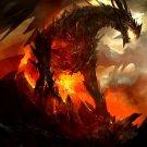 Dragon Flame Rocks Fantasy Art 32x24 Wall Print Poster